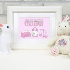 Personalised print to announce the delivery of a new baby. Hand-drawn details featuring the baby's name, date of birth, time of birth and weight. Personalised Gifts, Baby Prints, Baby Names, Hand Drawn, New Baby Products, Birth, How To Draw Hands, Frame, Personalized Gifts