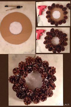 DIY couronne de pomme de pins. Décoration de Noël.