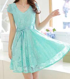 Blue Plain Belt Short Sleeve Sweet Lace Dress