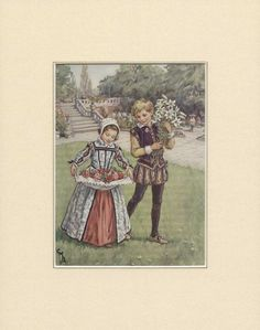'Boy and Girl in Elizabethan Dress Carrying Flowers' Painting Lily Manor Format: Wrapped Canvas, Size: 100 cm H x cm W x cm D Cicely Mary Barker, Collage Drawing, Sketch Painting, Flower Fairies, Flower Art, Elizabethan Dress, Fantasy Illustration, Art Images, Vintage Art