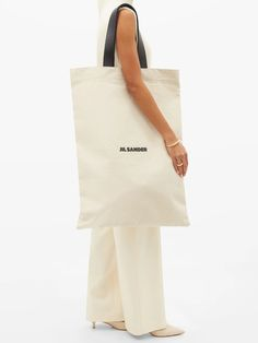 Leather Handle, Smooth Leather, Large Canvas Tote Bags, Printed Tote Bags, Black Tote Bag, Jil Sander, Reusable Tote Bags, Logo, Felt Bags