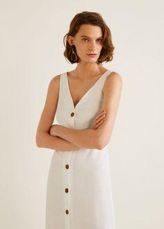 Flared design Linen blend fabric V-neck neckline Wide straps Back slit  detail Button front cfd40312ed82
