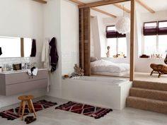 Une cloison coulissante pour séparer la chambre de la salle de bains - Séparer la chambre de la salle de bains dans une suite parentale