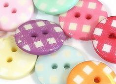 Fancy and Decorative {18mm w/ 2 Holes} 70 Pack of Medium Size Round 'Flat' Sewing and Craft Buttons Made of Acrylic Resin w/ Vibrant Creative Versatile Checkered Fun Design {Assorted Colors} >>> For more information, visit image link.