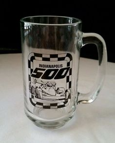 """Indy 500 Mug/Stein - Graphics on One Side - """"Indianapolis 500"""" & Car"""