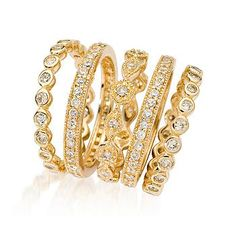 Ross-Simons - Set of Five 2.80 ct. t.w. CZ Eternity Bands in 14kt Over Sterling - #460847