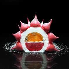 AntiPavlova cake. My interpretation. Cream with mascarpone and whipped cream, mango-passion fruit coulis, strawberry jelly, meringue.
