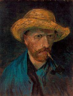 Autorretrato con sombrero de paja y pipa. 1887. Óleo sobre lienzo. 41.5 x 31.5 cm. Fundación Vincent van Gogh. Rijksmuseum Vincent van Gogh. Amsterdam.