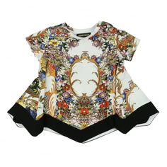 35f6fb41b5 Roberto Cavalli Kids Baby Girls White Dress With Multicoloured Floral  Pattern and Rococo Style Print Baby Baby Girls