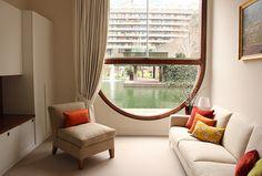 Interior of the apartment in Barbican Estate, London