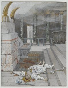James Tissot (French, 1836-1902). Zacharias Killed Between the Temple and the Altar (Zacharie tué entre le temple et l'autel), 1886-1894. Opaque watercolor over graphite on gray wove paper, Image: 7 1/8 x 5 1/2 in. (18.1 x 14 cm). Brooklyn Museum, Purchased by public subscription, 00.159.158 (Photo: Brooklyn Museum, 00.159.158_PS2.jpg)
