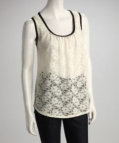 Take a look at this Ivory & Black Lace Sleeveless Top by Outfit Ready: Women's Apparel on @zulily today!