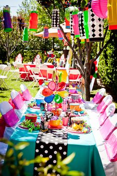 Mad Hatter party table designed by : Wonderland Party Props. For PARTY PROP RENTAL and decorating service please visit us at http://www.facebook.com/pages/Wonderland-Party-Props/159537750764498