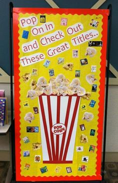 Pop On In! Back-To-School Reading Bulletin Board Back To School Library and Reading Bulletin Board Idea The post Pop On In! Back-To-School Reading Bulletin Board appeared first on School Diy. School Library Displays, Middle School Libraries, Library Themes, Elementary Library, Library Ideas, Library Posters, Library Work, Teen Library, Library Organization