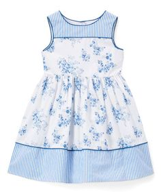 Look what I found on #zulily! Blue & White Floral Sleeveless Dress - Infant, Toddler & Girls #zulilyfinds