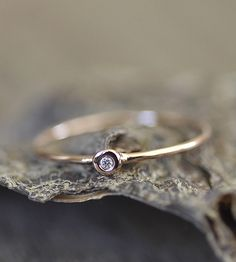 Petite Diamond  Gold Ring