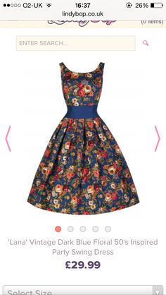 Lindy Bop  Lana  Vintage Inspired Dark Blue Floral Swing Dress (M bc6d77c96a