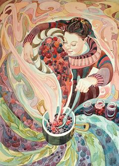 'Making Jam' By Painter Gillian Marklew. Blank Art Cards By Green Pebble. www.greenpebble.co.uk