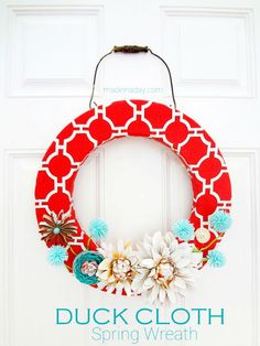 Spring wreath with Duck Cloth - LOOVE these colors!