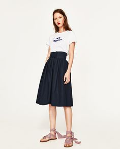 Image 1 of POPLIN SKIRT WITH SASH from Zara