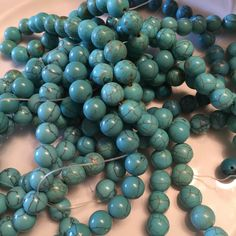 10mm Round blue turquoise beads by GshandmadeGoods on Etsy