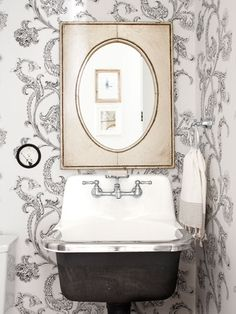 Bathroom Decorating and Design Ideas - Country Bathroom Decor - Country Living - silver scroll wallpaper or wall treatment - so cool!