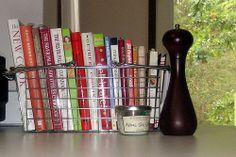 Home Style - Cookbook Storage Cookbook Display, Cookbook Storage, Cookbook Holder, Sink Organizer, Diy Kitchen Island, Bookshelf Design, Built In Bookcase, Organization Hacks, Kitchen Organization