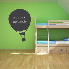 Your child's imagination will soar with this Hot Air Balloon Chalkboard Wall Art Decal!