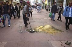 This picture is part of a series used by White's Electronics of Inverness in Treasure Hunting magazine. ~Julian Beever's 3D Street Art