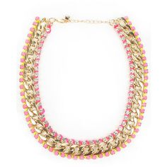 Chloe + Sam Neon and Gold Necklace (£45) ❤ liked on Polyvore featuring jewelry, necklaces, collares, accessories, colares, pink gold necklace, chain necklaces, collar necklace, gold collar necklace and gold chain choker