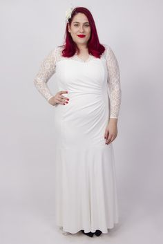 """This elegant maxi is made in our super soft stretch lace and chiffon mesh. Featuring long, soft lace sleeves, a V shaped scalloped lace neckline, fully lined in silky soft toulouse. We have included gauging at the waist to create the perfect hourglass silhouette. Perfect for your special day!   Model: size 16 and 5'6""""/169 cm tall"""
