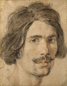 Gian Lorenzo Bernini (1598 - 1680) - Self-portrait - Black and red chalk with traces of white on pale brown paper.