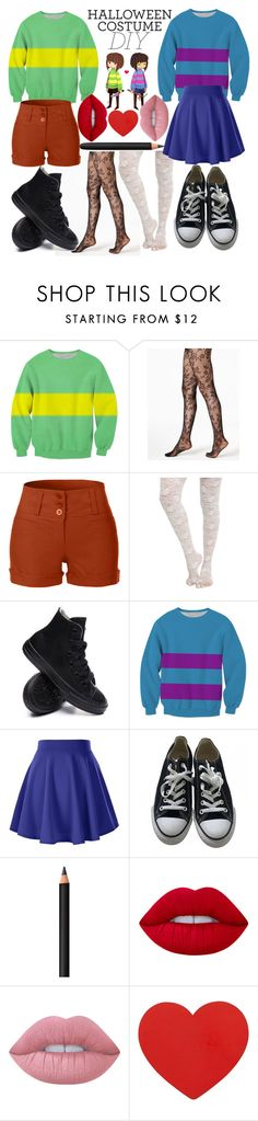 """""""Diy Chara and Frisk Costume"""" by dappershadow ❤ liked on Polyvore featuring DKNY, LE3NO, Converse, INIKA, Lime Crime, halloweencostume and DIYHalloween"""