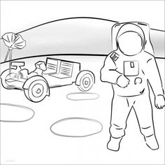 An Astronaut And A Mooncraft At The Background Coloring Page - Download & Print Online Coloring Pages for Free   Color Nimbus Online Coloring Pages, Free Coloring, Coloring Sheets, More Pictures, Astronaut, Colorful Backgrounds, Gallery, Image, Art