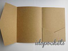 Kraft Wedding Invitations DIY Pocketfold Envelopes BOX Vintage Brown Invite C   eBay
