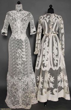 TWO LACE TEA GOWNS, 1905-1908 1 1-piece of faux Irish crochet lace, small patterned lace ground w/ heavy raised lace trim on bodice & skirt, group of 3 crochet ball tassels; 1 2-piece point d'espirit w/ scroll appliques (blouse altered)