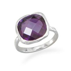 Textured Purple CZ Ring