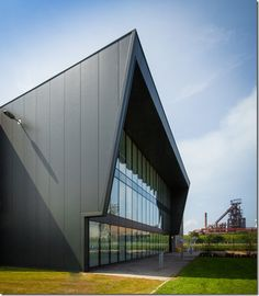 Tata Steel's new site in Port Talbot, featuring its steelworks stores, visitor centre and training centre, which has a -0.6 CO2 emission rate, making it the largest carbon negative development in Wales.