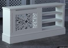 Jali bespoke radiator cover - something like this to cover radiator and accommodate TV - need to figure out how to aim heat aways from tv and electronics. Wall Heater Cover, Home Radiators, Made To Measure Furniture, Radiator Cover, Decoration Design, Interior Design Living Room, Home Projects, Home Furniture, New Homes