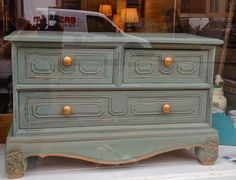 ChouChou Chateau: Duck Egg and Gold - Cabinet Transformations.  Shabby Chic and painted using Autentico's Troubled Waters chalk paint with antique gold wax.