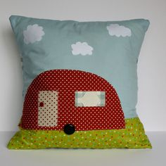 Polka Dot Red Retro Caravan Cushion Designed and Made in Britian by Bonny Boutique