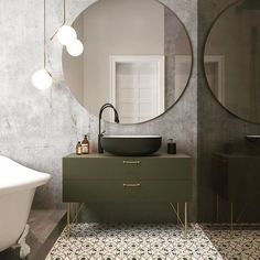 Lovely green vanity. The black sink and gold accents pull it all together. (uploaded by another Pinner off of Instagram)