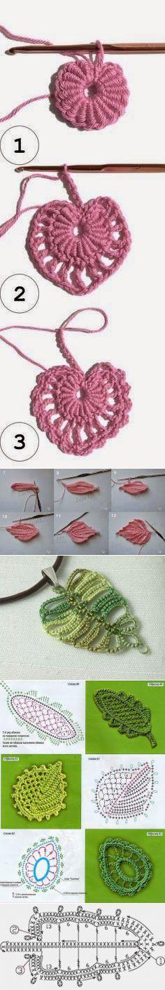 Irish crochet &: Мотивы для ирландского кружева. Ажурные листики и ветки.