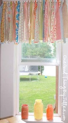 Shabby chic rag valance. Just tie fabric scraps to a curtain rod.--perfect for my kitchen and small windows in the living room~~.:
