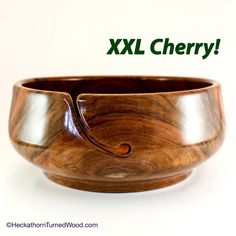 YARN BOWL, XXL Yarn Project Bowl, Cherry Wood, Brilliant Gloss Finish and for Bigger Yarn Projects/Supplies; #964. by HeckathornTurnedWood on Etsy