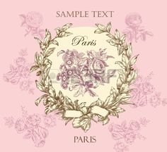 Pastel gentle rose vector label with wreath 스톡 사진