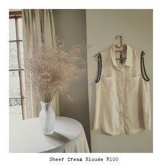 Sheer Cream Blouse R100  http://www.thethriftyfoxglove.com/#!product/prd1/4485005391/beige-blouse-with-black-trim