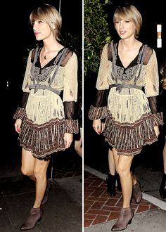 """"""" Taylor Swift arriving at """"Kings of Leon"""" frontman Caleb Followill's star-studded birthday party celebrated at """"Sunset Marquis"""" hotel in West Hollywood """""""