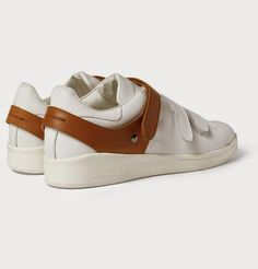 White Strapped: Alexander McQueen Harness Detail Leather Sneakers ~ SHOEOGRAPHY
