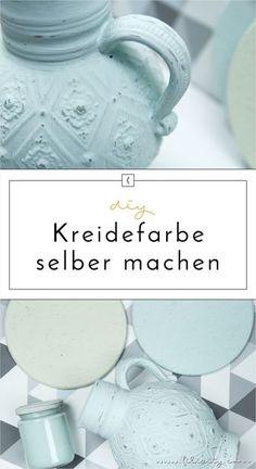 Kreidefarbe (Chalk Paint) günstig und einfach selber machen? Mit dieser DIY-Anleitung erstrahlen deine Möbel und Deko in mattem Shabby Chic / Vintage Look!